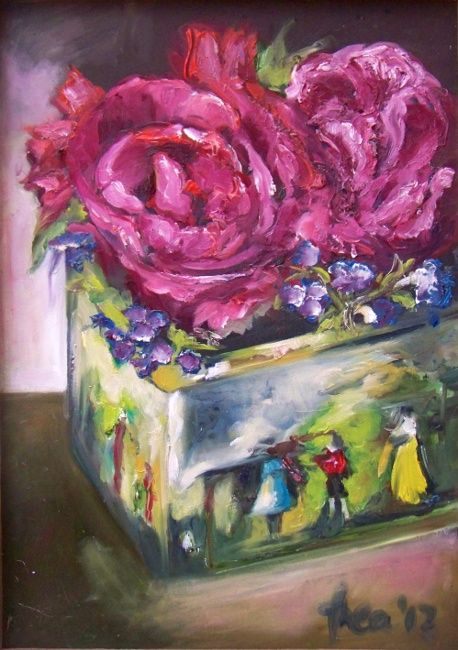 Shades of life by Thea Burger: Antique tin with roses