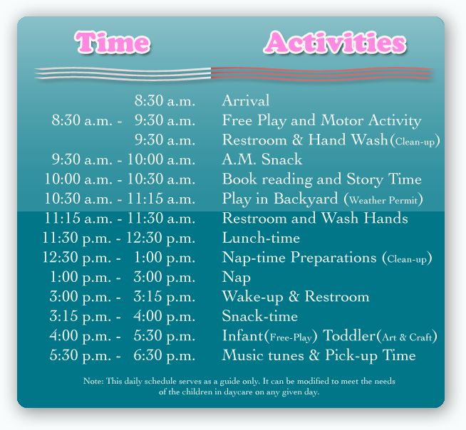 child care schedule template | ... is a checklist for you when having a party at your child's school