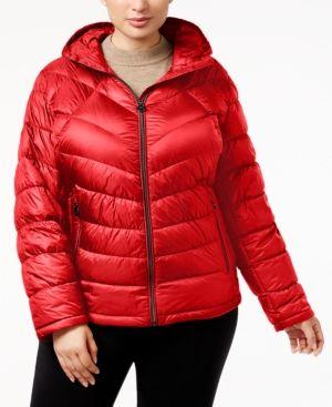 Michael Michael Kors Plus Size Chevron Packable Puffer Coat -