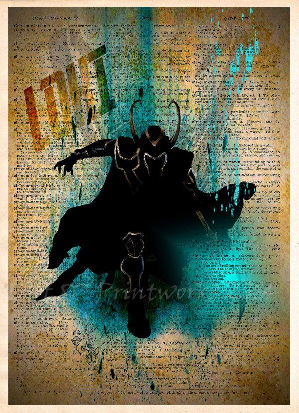 Loki - The Avengers dictionary art print  -  Super Hero Pop Art - Marvel wall art by Loft817 on Etsy https://www.etsy.com/listing/200237165/loki-the-avengers-dictionary-art-print