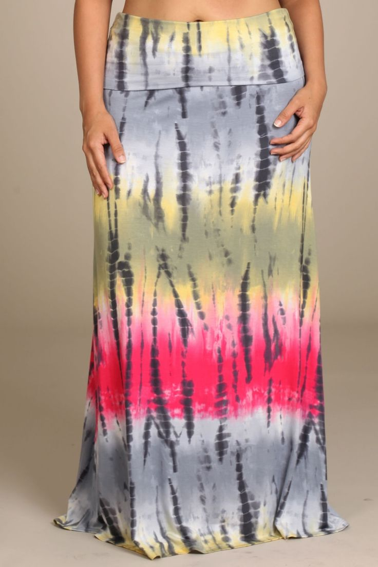 MADE TO ORDER Womens PLUS SIZE Grey Multi Colored Bamboo Tie Dye Print Long Maxi Skirt