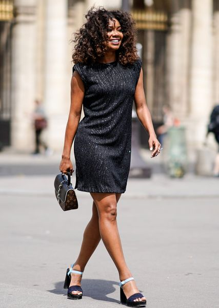 Street Style Guide To Wearing Black This Summer—Black shimmer dress