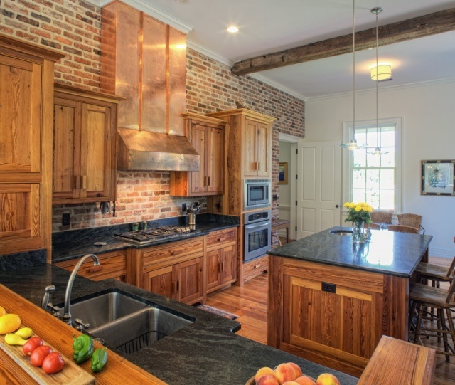 Heart Pine Cabinets, Soap Stone Counter Tops And A Brick