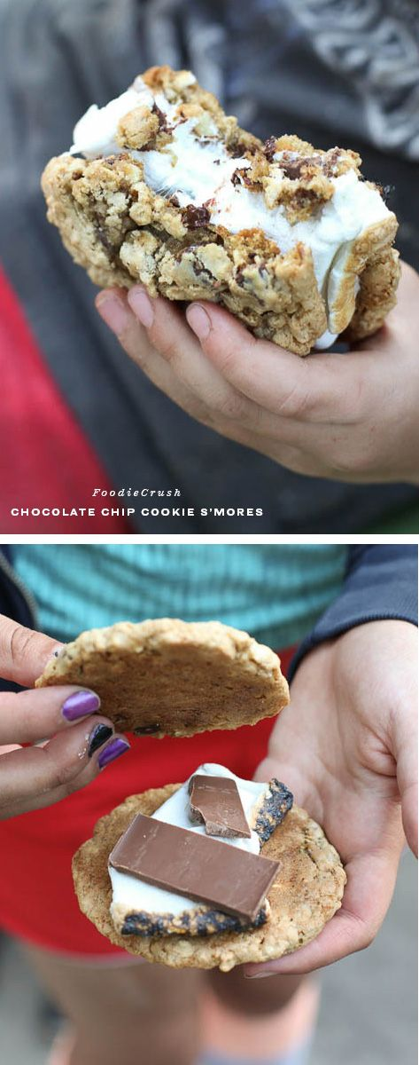 Chocolate Chip Cookie S'mores. Why didn't I think of this before? #recipe on foodiecrush.com #cookout #smores #cookies