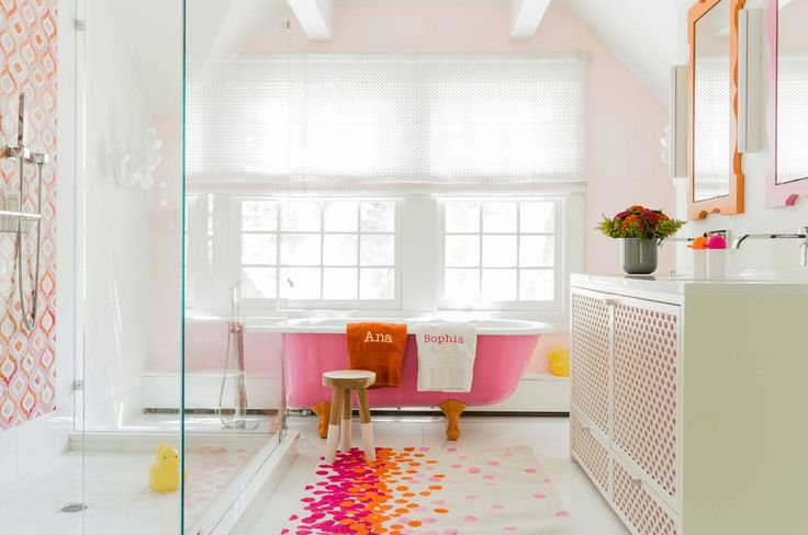 Whimsical Pink Bathroom One of the more modern options available to you in terms of bringing color into your bathroom, choosing a shaded tub is sure to make a huge impact