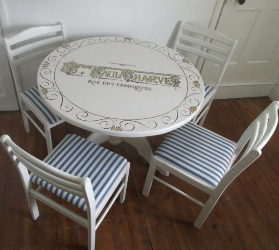 Hand Painted Table And Chairs With Vintage Por