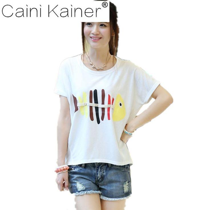 2017 Summer Tops loose tshirt Print T-Shirt Women T Shirt Fashion Cartoon Animal Print Batwing Sleeve White Plus Size