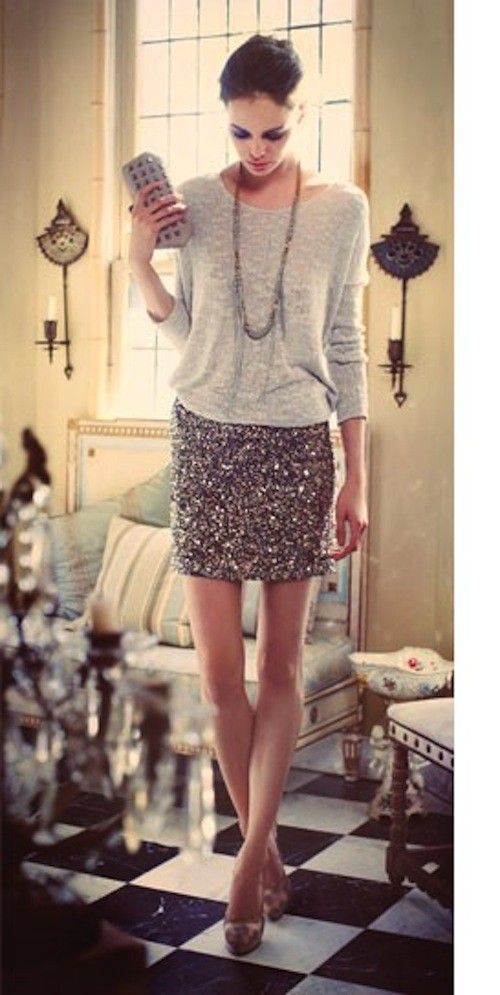 Embellished Skirt + crewneck sweater or plain black turtleneck (the most basic piece you have in your closet)