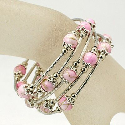 Beautiful Wrap Bracelet, with Drawbench Acrylic Beads, Tibetan Style Bead Caps, Brass Tube Beads and Steel Memory Wire, Pink,