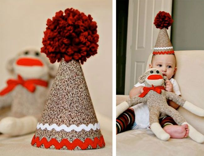 idea for 2nd birthday theme - tutorial: sock monkey party hat