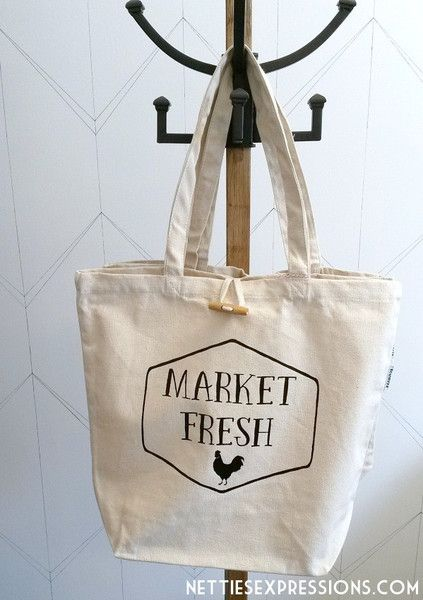 Recycled Cotton Tote Bag - Market Fresh | Cotton tote bag customized with heat transfer vinyl designed and created by Netties Expressions |  © 2017 Netties Expressions | https://www.nettiesexpressions.com