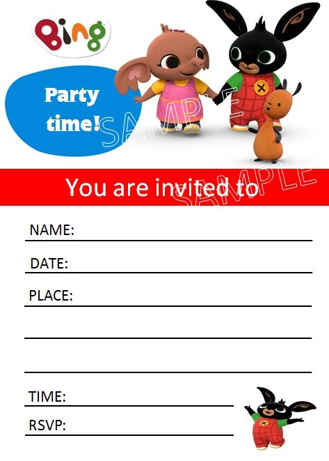 10 birthday party bing bunny invitations invites with envelopes