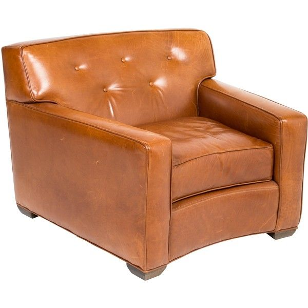 Pre-owned Leather Club Chair ($795) ❤ liked on Polyvore featuring home, furniture, chairs, accent chairs, brown, brown leather chair, oversized leather chair, tufted leather chair, leather chair and brown club chair