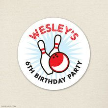 Bowling Party Stickers - Sheet of 12 or 24 - Strike up some fun with this awesome bowling party theme!