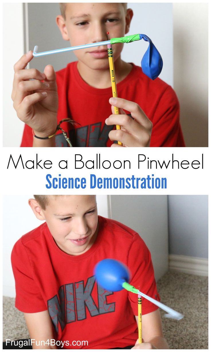 Here's a fun science activity that demonstrate's Newton's 3rd Law of Motion, and it's also a lot of fun!  Use a straw and a balloon to make a spinning pinwheel. The pinwheel works by inflating the balloon and then letting it go.  Air rushes out of the balloon through the straw, which causes the pinwheel …