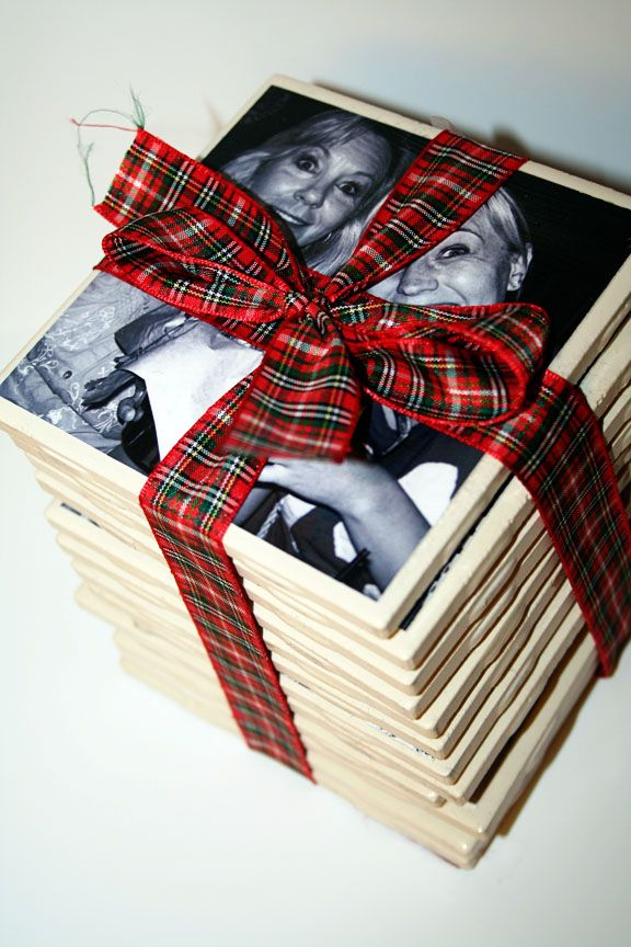 Personalized coasters #diy #gifts Source: A Couple of Craft Addicts- Nanny, use pictures of trip