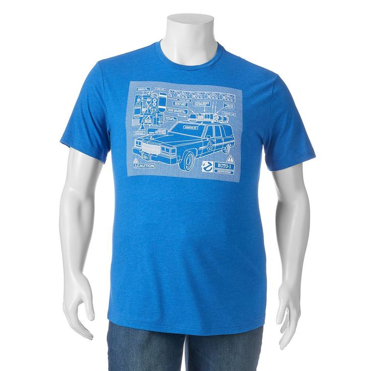 Big & Tall Ghostbusters Car Tee, Men's, Size: Xl Tall, Blue Other