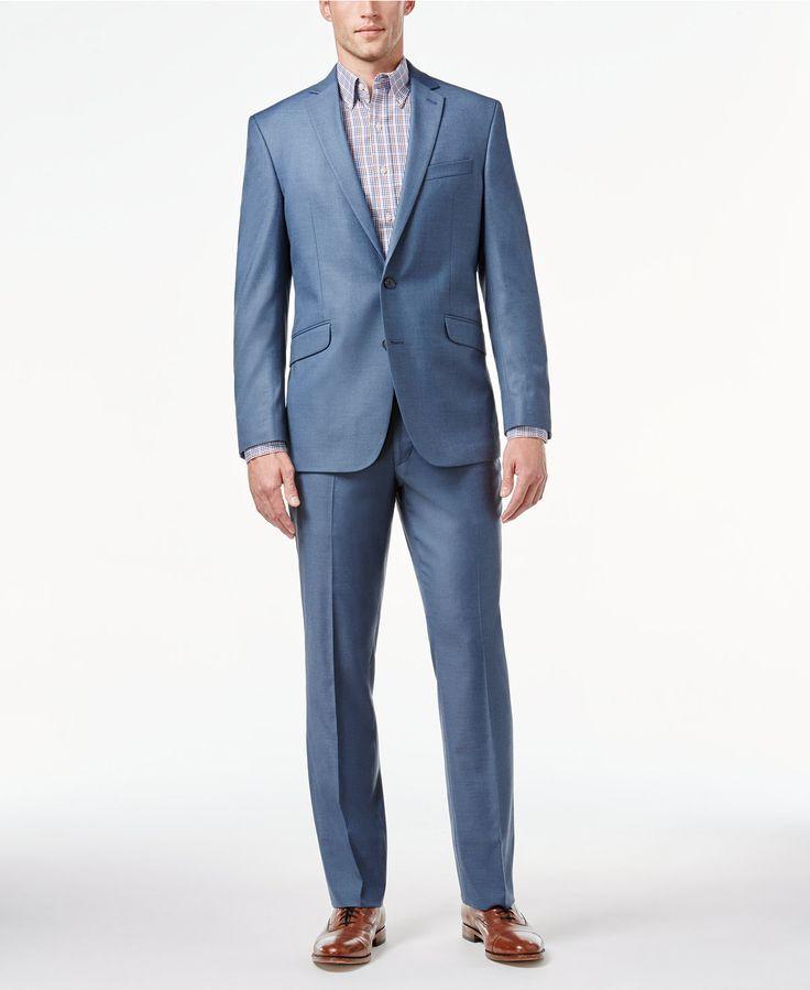 Kenneth Cole Reaction Light Blue Sharkskin Slim-Fit Suit - Suits & Suit Separates - Men - Macy's