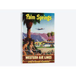 'Palm Springs - Líneas aéreas occidentales, Skyway al anuncio del vintage de los campos de juego occidentales en lona