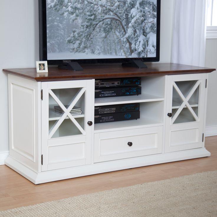 "The Hampton 55""TV Stand - WhiteOak $299.98: 55W x 19.75D x 25H ""  Hayneedle's exclusive Hampton collection-sturdy birch wood frame with real oak veneer top-Dark oak finish on top & white finish on base  Accommodates flat panel TVs up to 55W"";1 drawer, 2 cabinets and 3 adjustable shelves"
