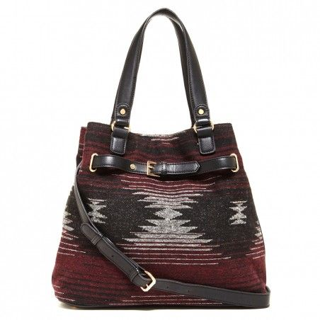 Women's Grey Tan Faux Leather Tribal Medium Tote | Nina by Sole Society