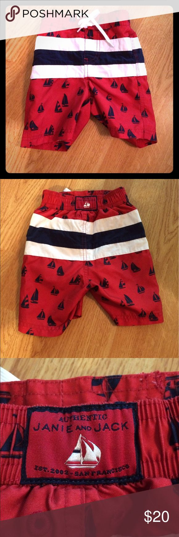 Janie and Jack Sailboat Swim Trunks 6-12 months Janie and Jack Sailboat Swim Trunks 6-12 months *Excellent Condition* Red, White & Navy Blue BUNDLE with my other listings for a DEAL!!! Janie and Jack Swim Swim Trunks