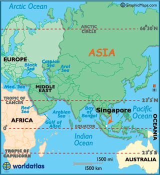 The Relative Location of Singapore is in both the northern and eastern hemispheres, located immediately north of the Equator, and is positioned off the southern edge of the Malay Peninsula between Malaysia and Indonesia