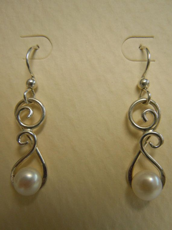 Sterling Wire Formed Pearl Dangle Earrings by evalentinedesigns