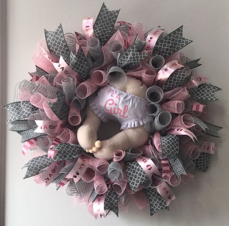 It's a Girl Baby Hospital Wreath with baby bottom baby butt . A personal favorite from my Etsy shop https://www.etsy.com/listing/503725779/adorable-mesh-baby-girl-or-boy-bottom