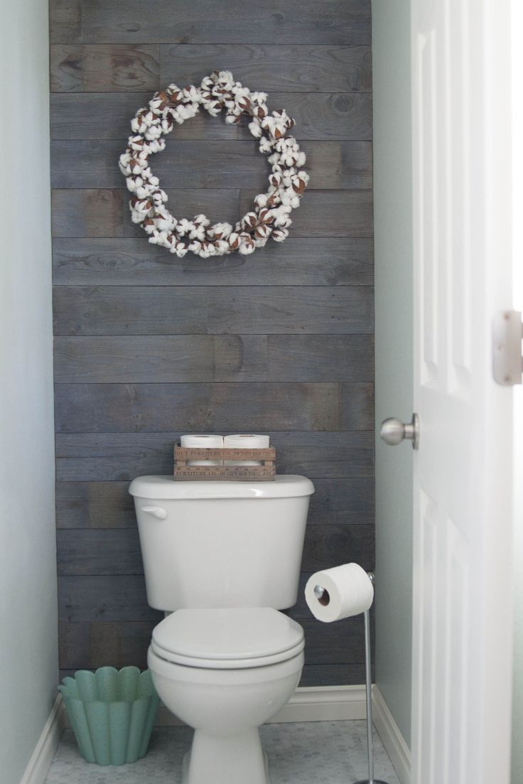 Plank Wall Stained In Minwax Classic Gray This Is An Easy And Inexpensive Project Tiny Bathroomssmall Bathroombathroom Ideashalf Bathroom Decorhalf