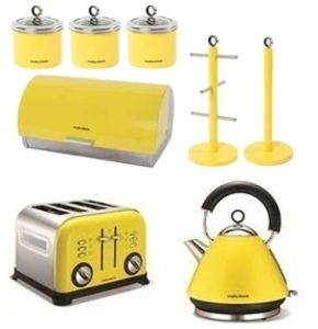 Morphy Richards 8pc Kitchen Set Kettle/Toaster in Yellow