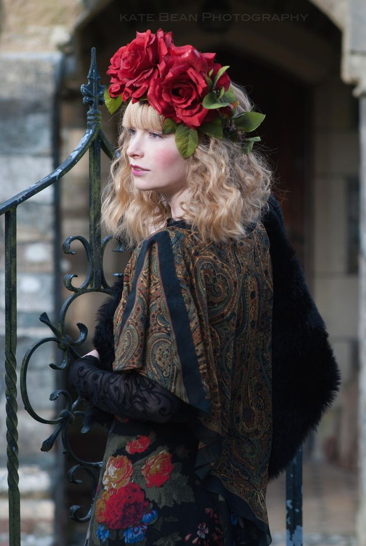 Gypsy Rose Russian Doll bohemian ethereal fairytale Photography: Kate Bean Photography Design & Styling: Alice Halliday Modelling, Hair & makeup: Alice Halliday  Paisley top €65 Atelier 27 Rose Red Flower crown €60 buy here: https://www.etsy.com/listing/211025578/oversized-ruby-rose-red-floral-crown?ref=listing-shop-header-3