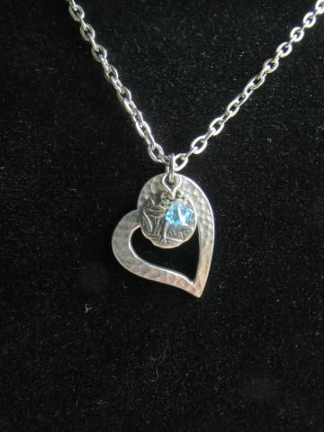 Heart Dragonfly Crystal Necklace - Open Hammered Heart - Tiny Dragonfly Coin - Blue Color Crystal - Ready to Ship N070