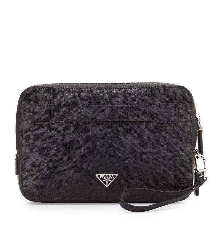 Prada Saffiano Men's Clutch Bag, Black (Nero)             $189.00