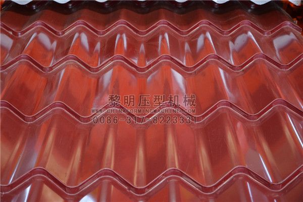 The #Glazed #tile #roofing #panels made by our glazed tile roofing sheet roll forming machine have beautiful appearance and bright color. They are widely used in gardens, factories, resorts, hotels, exhibition halls, vacation-lands, ancient architectures and modern villas. The raw material of glazed tile roofing sheet roll forming machine is color steel panel, galvanized steel, aluminum panel; the thickness of the raw material is 0.3-0.7mm.