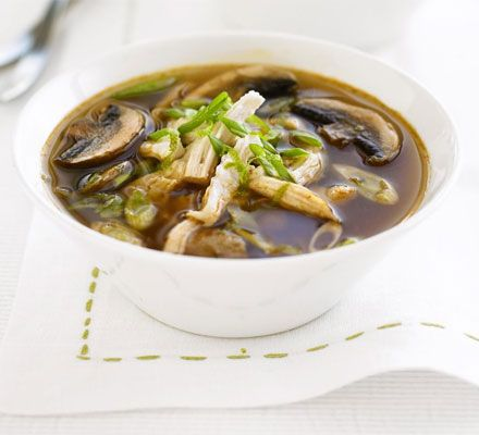 Thai chicken and mushroom broth. Real comfort food and only 179 calories. Ideal for fast day dinners