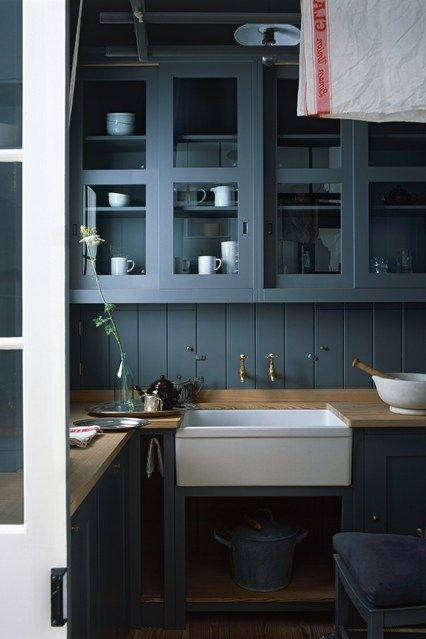 Dark Blue Kitchen by Plain English in Blue Room Ideas on HOUSE. Dark cupboards with glass panels make for a beautiful combination in this kitchen by Plain English.