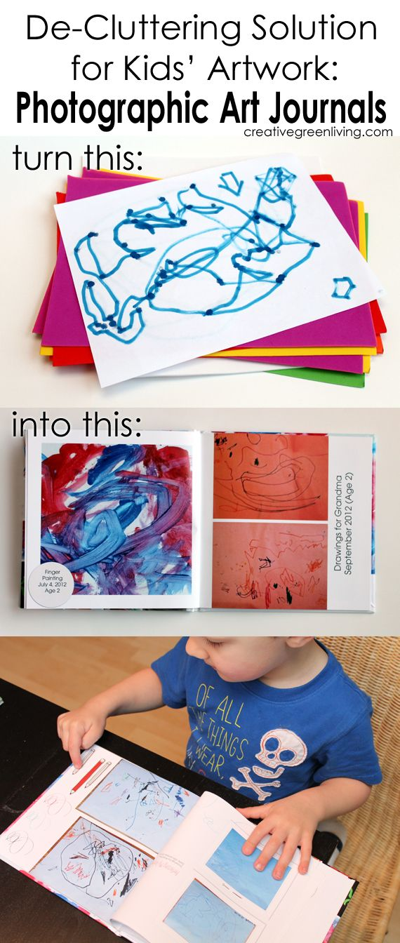 Great idea for how to keep kids artwork clutter under control: Turn it into a photographic journal. Post includes tips for how to save money on the photo book journals.