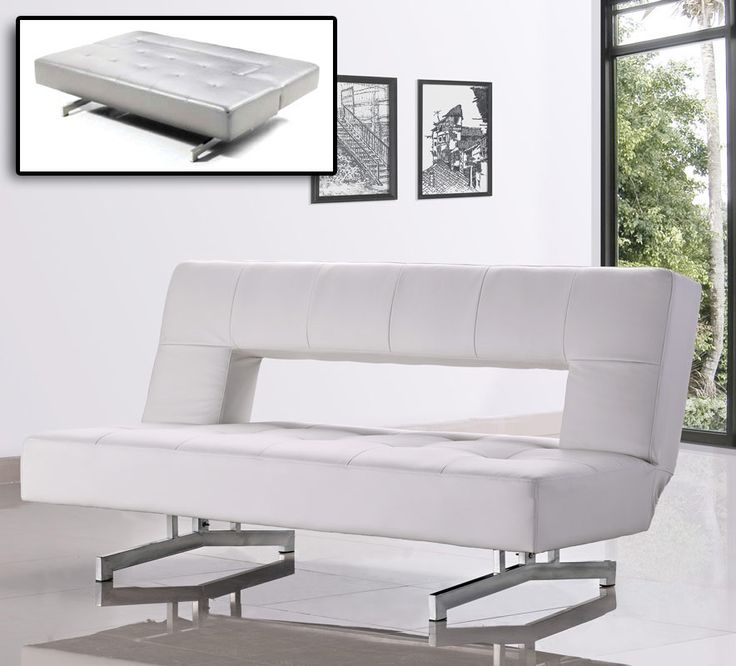 0926 - Fold-Out White Leatherette Sofa Bed | Classic 2 Modern Furniture Store