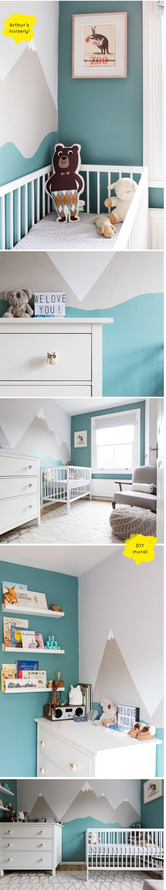 Love this modern nursery by Lucy Gough - it's stylish and simple | Teal | Grey | Mountain DIY Mural | Baby boy | Gender Neutral | Ikea update