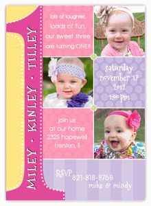 The 21 best triplets birthday invitations from amys card creations triplets first birthday photo collage ggg birthday invitation stopboris Images