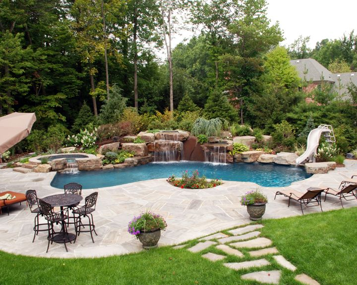 Swimming pool and patio with fire pi pool and patio for Backyard design ideas with pool