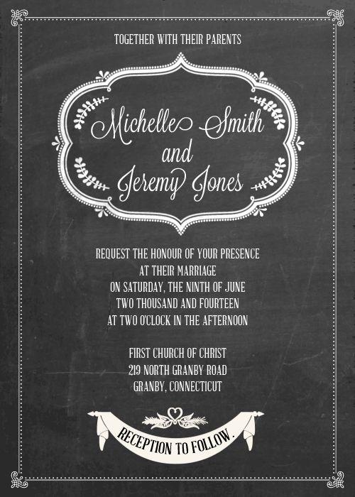 FREE PDF Download - Chalkboard II Wedding Invitation. Easy to edit and print. For customizations: printableinvitationkits[at]gmail[dot]com