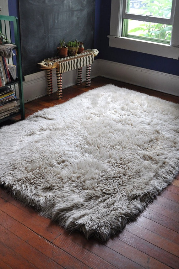 Vintage Flokati Shag Rug From Greece Off White Wool Super