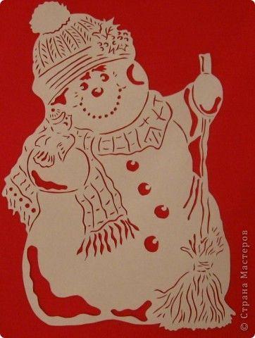 Картина панно рисунок Новый год Вырезание Снеговик с птичкой Бумага фото 2