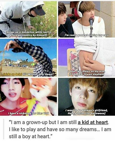 Tae is such an adorable precious human always stay a kid inside love. Don't grow up too fast for anyone