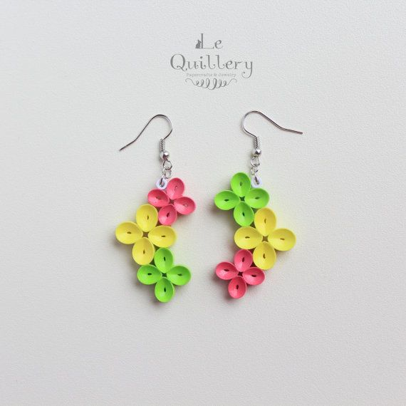 Quilled Paper Earrings, Bright Colorful Flowers - must try one day