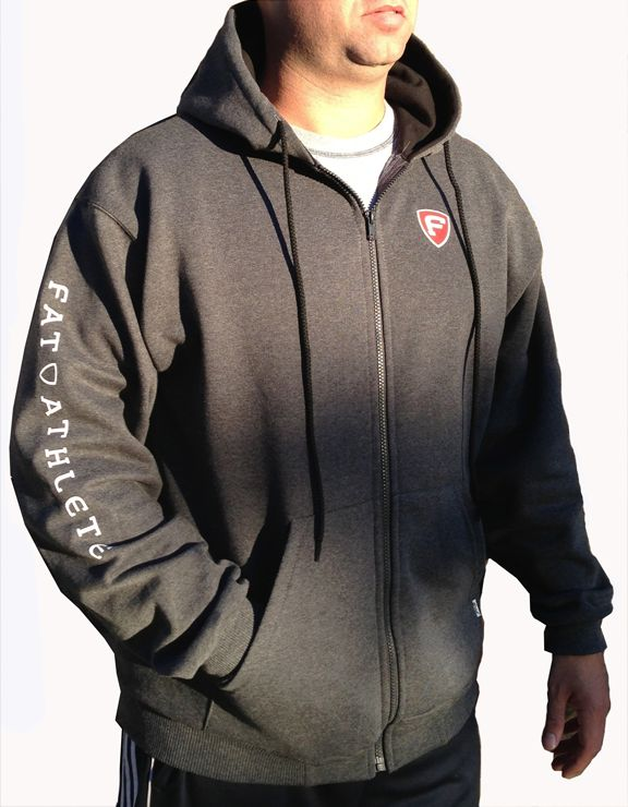 Fat Athlete Hoodie - 95% cotton 5% lycra - Rib cuffs and waist - 2-ply hood with inside contrast and drawcord - Pouch pocket - $39.99 http://www.fatathlete.com/index.php/products/sweaters/two-tone-hoodie-detail