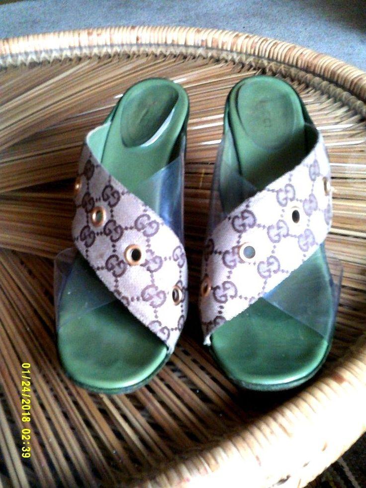 GUCCI FABRIC AND CLEAR  SLIDE ON HEELS SIZE 8 1/2 B #Gucci #KittenHeels