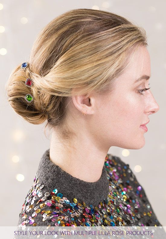 What a pretty combination for a beautiful party ready low bun hairstyle! Sapphire, Crimson, and Emerald Joy U-Pins from Lilla Rose.
